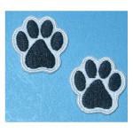 "Iron On Patch Applique Paw Print Small 1"" White Per Piece"