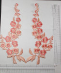 On Patch Applique -  Long L&R Flower Spray Peach