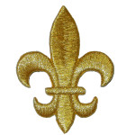 "Iron On Patch Applique - Fleur De Lys 2 1/2"" METALLIC GOLD"