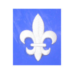 "Iron On Patch Applique - Fleur De Lys 2 1/2"" WHITE"