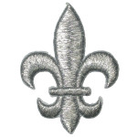 "Iron On Patch Applique - Fleur De Lys 2 1/2"" SILVER"