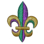 "Iron On Patch Applique - Fleur De Lys 2 1/2"" METALLIC MARDI GRAS"