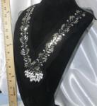 Yoke Applique Beaded on Sheer Black