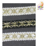 """Braid 1/2"""" with Metallic Gold Detail Gold/Black 10 Yards"""
