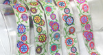 "Jacquard Ribbon 1"" Pin Flowers On Beige - *Colors* 18 Yard Roll"