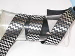 "Foil Chevron Grosgrain Ribbon 1 1/2"" Black & Silver"