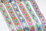"Jacquard Ribbon 1"" Poly Two Color Flower On Vine Pattern"