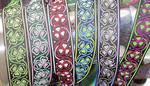 "Jacquard Ribbon 1"" Poly Shamrock Wavy Line Pattern"