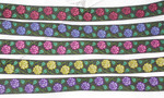 "Jacquard Ribbon 1"" Poly Rose On Stem Pattern"