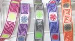 "Jacquard Ribbon 1"" Poly Greek Key & Pinwheel Pattern *Colors*"