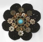"Sew On Crochet Applique Beaded Black 3 1/8"""