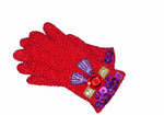 Iron On Patch Applique - Red Hat Ladies - Gloves