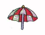 Iron On Patch Applique - Umbrella Red & Sparkle White