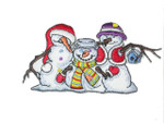 Iron On Patch Applique - Christmas Snowman Group