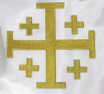 "Iron On Patch Applique - Jerusalem 5 Part Cross 5""  Metallic Gold"