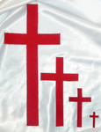 "Iron On Patch Applique - Plain Cross 5"" Tall Red"