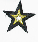"Iron On Patch Applique - Mirror Star 1 7/8"" Black & Met Gold"