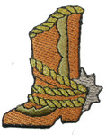 Iron On Patch Applique - Country and Western Boot with Spur Left