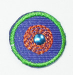 "Iron On Patch Applique - 3/4"" Round Dot with Stud Blue"