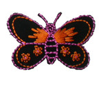 "Iron On Patch Applique - Butterfly 2 3/8"" Black & Orange"