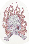Rhinestud Applique - Skull in Flames