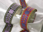"Jacquard Ribbon 1 5/16"" (34mm) Floral - Colors Per Yard"