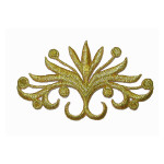 Iron On Patch Applique - Blooming Crest Applique Metallic Gold