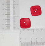 "Button 1"" Flat Square Red 2 Hole - Per Piece"