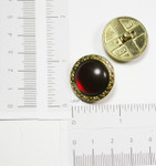 "Button 1"" Shank 24K Gold Plated with Amber Fill - Per Piece"
