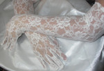 "21"" White Stretch Lace Gloves - 1 Pair"