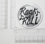 Iron On Patch Applique - Rock n Roll record White