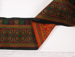 "Jacquard Ribbon 4 7/8"" Red Gold & Green Zion Sun"