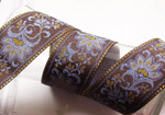 "Jacquard Ribbon 2 1/8"" Brown Periwinkle Blue & Metallic Gold Floral"