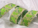 "Jacquard Ribbon 1 1/2"" Metallic Gold & Green Floral"