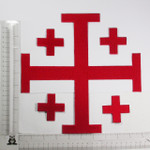 "Iron On Patch Applique - Jerusalem 5 Part Cross 10""  Red"