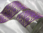 "Jacquard Ribbon 2 7/8"" (73mm) Fancy Metallic Floral Per Yard"