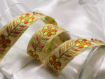 "Jacquard Ribbon 1 1/2"" Metallic Gold with Orange & Yellow Flowers"