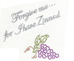 "Rhinestud Applique - ""Forgive me... For I have Zinned"""
