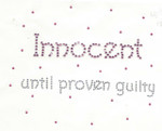 "Rhinestud Applique - ""Innocent   until proven guilty"""