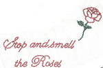 "Rhinestud Applique - ""Stop and Smell the Roses"" With Rose"