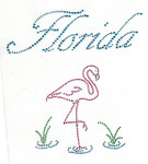"Rhinestud Applique - ""Florida"" with Flamingo"