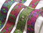 "Jacquard Ribbon 1 5/16"" (33mm) Hibiscus *Colors* Priced Per Yard"