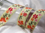 "Jacquard Ribbon 1 5/16"" (34mm) Yellow Butterflies Priced Per yard"