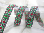 "Jacquard Ribbon 7/8 "" (22mm) Indian Star RGW priced Per Yard"