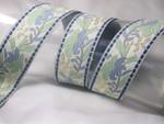 "Jacquard Ribbon 1 7/16"" (37mm) Off White Blue & Sage Floral 5 Yards"