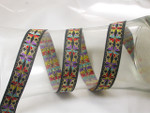 "Jacquard Ribbon 3/4"" (19mm) Black , Multicolor & Metallic Gold Priced Per Yard"