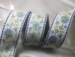 "Jacquard Ribbon 1 9/16"" (39mm) Blue & Green Floral on White Priced Per Yard"