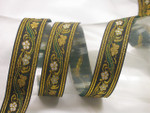 "Jacquard Ribbon 1 1/8"" (28.5mm) Floral with Double Gold Border Priced Per Yard"