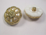 "Button 1 1/8"" ( 29mm) Gold Pearl Color Insets - Per Piece"