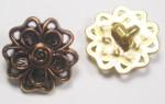 "Button 13/16"" (20.6mm) Aged Gold Flower Head  - Per Piece"